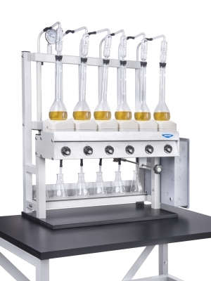 6-Place Kjeldahl Distillation Unit with Flasks
